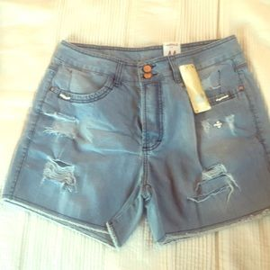 Pants - Jeans Shorts with Pearls attachments.